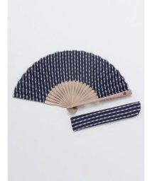KAYA/【カヤ】紳士用 刺し子矢絣扇子 袋付き 7XCP0104/503056173