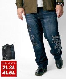 MARUKAWA/大きいサイズ ビッグサイズ デニム レギュラーストレート 和柄 龍 刺繍 ジーンズ/502976474