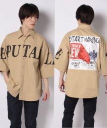 STYLEBLOCK/韓国韓流ストリートデコレーションロゴフォトプリント半袖ビッグシャツビッグシルエットルーズオーバーサイズ/503024180