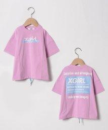 X-girl Stages/ロゴプリント裾シャーリングTシャツ/503041339