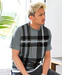 LUXSTYLE/フェイクレイヤードチェック柄Tシャツ/Tシャツ メンズ 半袖 チェック柄 ネックレス付き/503067133