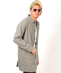 LUXSTYLE/ステンカラーチェックコート/ステンカラーコート メンズ チェック柄 コート 綿麻/503067291