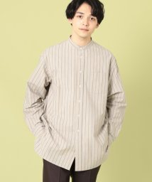 coen/インドコットンストライプロングバンドカラーシャツ/503068374