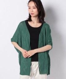 Leilian/柄編み半袖カ-ディガン/503029114