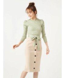 MIIA/パフスリーブトップス×配色リボンニットスカート/503056671