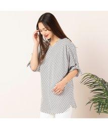PISANO/プレミアムコットン・袖リボンボーダーTシャツ/503069860