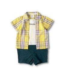 branshes/チェックシャツ重ね着風半袖カバーオール(70~80cm)/503071074