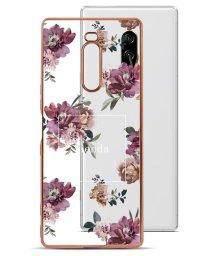 Mーfactory/Xperia1 SO-03L rienda [メッキクリアケース/Brilliant Flower/バーガンディー]/503067319