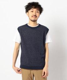 GLOSTER/インナーTシャツ付き レイヤードニットベスト/503063400