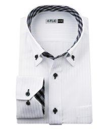FLiC/ワイシャツ メンズ デザイン ボタンダウン 長袖 形態安定 シャツ ドレスシャツ ビジネス ノーマル スリム yシャツ カッターシャツ 定番 ドビー 織柄 おし/503079227
