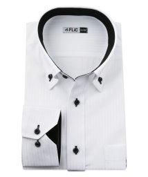 FLiC/ワイシャツ メンズ デザイン ボタンダウン 長袖 形態安定 シャツ ドレスシャツ ビジネス ノーマル スリム yシャツ カッターシャツ 定番 ドビー 織柄 おし/503079228