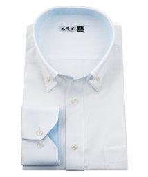 FLiC/ワイシャツ メンズ デザイン ボタンダウン 長袖 形態安定 シャツ ドレスシャツ ビジネス ノーマル スリム yシャツ カッターシャツ 定番 ドビー 織柄 おし/503079230