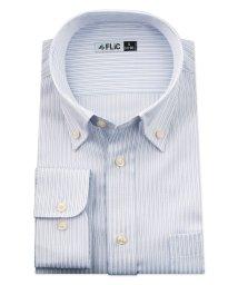 FLiC/ワイシャツ メンズ ボタンダウン 長袖 形態安定 シャツ ドレスシャツ ビジネス ノーマル スリム yシャツ カッターシャツ 定番 ストライプ ドビー 織柄 お/503079235