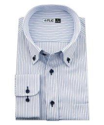 FLiC/ワイシャツ メンズ ボタンダウン 長袖 形態安定 シャツ ドレスシャツ ビジネス ノーマル スリム yシャツ カッターシャツ 定番 ストライプ ドビー 織柄 お/503079237