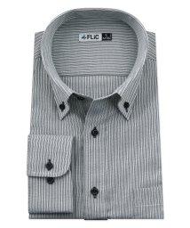 FLiC/ワイシャツ メンズ ボタンダウン 長袖 形態安定 シャツ ドレスシャツ ビジネス ノーマル スリム yシャツ カッターシャツ 定番 ストライプ ドビー 織柄 お/503079238