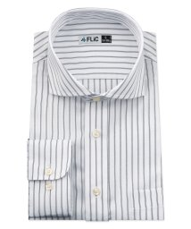 FLiC/ワイシャツ メンズ ホリゾンタル ワイド 長袖 形態安定 シャツ ドレスシャツ ビジネス ノーマル スリム yシャツ カッターシャツ 定番 ストライプ ドビー /503079239