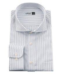 FLiC/ワイシャツ メンズ ホリゾンタル ワイド 長袖 形態安定 シャツ ドレスシャツ ビジネス ノーマル スリム yシャツ カッターシャツ 定番 ストライプ ドビー /503079240