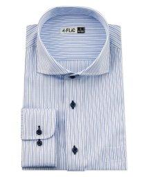 FLiC/ワイシャツ メンズ ホリゾンタル ワイド 長袖 形態安定 シャツ ドレスシャツ ビジネス ノーマル スリム yシャツ カッターシャツ 定番 ストライプ ドビー /503079241