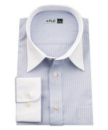 FLiC/ワイシャツ メンズ レギュラーカラー 長袖 形態安定 シャツ ドレスシャツ ビジネス ノーマル スリム yシャツ カッターシャツ 定番 ストライプ ドビー 織柄/503079243