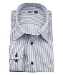 FLiC/ワイシャツ メンズ レギュラーカラー 長袖 形態安定 シャツ ドレスシャツ ビジネス ノーマル スリム yシャツ カッターシャツ 定番 ストライプ ドビー 織柄/503079245
