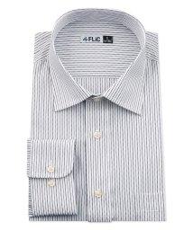 FLiC/ワイシャツ メンズ ショートワイド ワイド 長袖 形態安定 シャツ ドレスシャツ ビジネス ノーマル スリム yシャツ カッターシャツ 定番 ストライプ ドビー/503079249