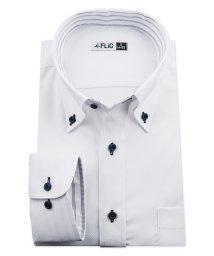 FLiC/ワイシャツ ノーアイロン ドライ ストレッチワイシャツ メンズ 長袖 形態安定 吸水速乾 織柄 ボタンダウン/503079699
