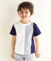 BeBe/ストライプ切り替えTシャツ/503066743