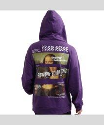 1111clothing/「有名絵画を身に纏う」 モナリザ パッチワークビッグパーカー 男女兼用 ユニセックス ブランド ワンフォー 1111 白 黒 オレンジ パープル 紫 M L /503090771