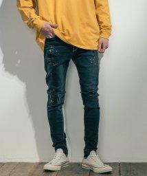Rocky Monroe/デニムパンツ メンズ ジーンズ ジーパン スキニー 細身 タイト ストレッチ 綿 コットン ダメージ加工 ペイント 伸縮性 カジュアル ストリート LiSS リ/503090833
