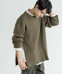 Rocky Monroe/ニット セーター メンズ シンプル クルーネック 無地 サイドスリット ビッグシルエット オーバーサイズ 綿 コットン ルーズ 日本製 国産 Ressaca レ/503091497