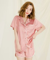 Julia Boutique/2点セット・半袖パイピングサテンシャツ×ショートパンツセットアップ・ルームウェア /530022 ルームウェア 可愛い サテン パジャマ 前開き レディース/503092610