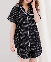 Julia Boutique/2点セット・半袖パイピングサテンシャツ×ショートパンツセットアップ・ルームウェア /530022 ルームウェア 可愛い サテン パジャマ 前開き レディース か/503092610