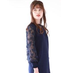 BLUEEAST/フラワーレースぽわん袖ワンピース/503093667