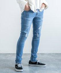 Rocky Monroe/スキニーパンツ メンズ ストレッチ 伸縮性 黒 細身 スリム ヴィンテージ ダメージ ユーズド カジュアル 無地 8545/503094510
