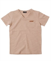 GLAZOS/スラブ天竺・合皮パッチVネック半袖Tシャツ/503092681