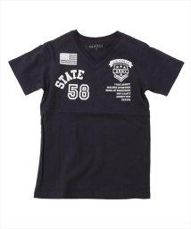 GLAZOS/天竺・ワッペン風プリント半袖Tシャツ/503092693