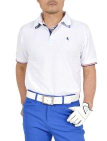 SantaReet/二枚襟チェック使い半袖鹿の子ゴルフポロシャツ(ST-25443)/503094409