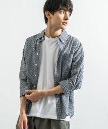 Rocky Monroe/ボタンダウンシャツ メンズ 七分袖 ブロード 無地 チェック ストライプ カジュアルシャツ 7530/503110813