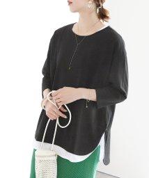 reca/ラウンド裾七分袖カットソー/503110936