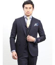 m.f.editorial/ウール100% SUPER140'S シャドーストライプ柄紺 3ピース レギュラースーツ/501997486