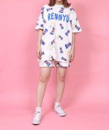 PUNYUS/フード総柄Tシャツ/503094102