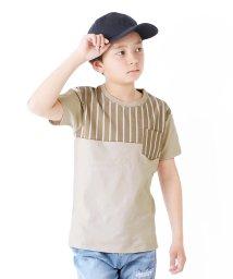 GLAZOS/天竺・ストライプ切り替え半袖Tシャツ/503114860