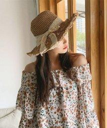 seiheishop/帽子 レディース つば広 リボン付き 麦わらHAT 折りたたみ 小顔効果 紫外線対策 UVカット おしゃれ 旅行/503115607