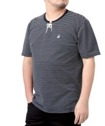MARUKAWA/【BEVERLY HILLS POLO CLUB】ビバリーヒルズポロクラブ 大きいサイズ 無地 ポケット付 ボーダー ワンポイント刺繍 編み上げ 半袖Tシャツ/503080117