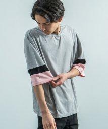 Rocky Monroe/5分袖Tシャツ メンズ スエードポンチ 切替 カットソー ビッグシルエット 無地 シンプル カジュアル クルーネック ストリート ボックス HOUSE OF B/503115643