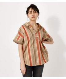 AZUL by moussy/AFRICAN STRIPE LOOSE SHIRT/503117103