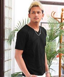 LUXSTYLE/スラッシュジャガードVネックTシャツ/Tシャツ メンズ Vネック 半袖 ジャガード/503119064