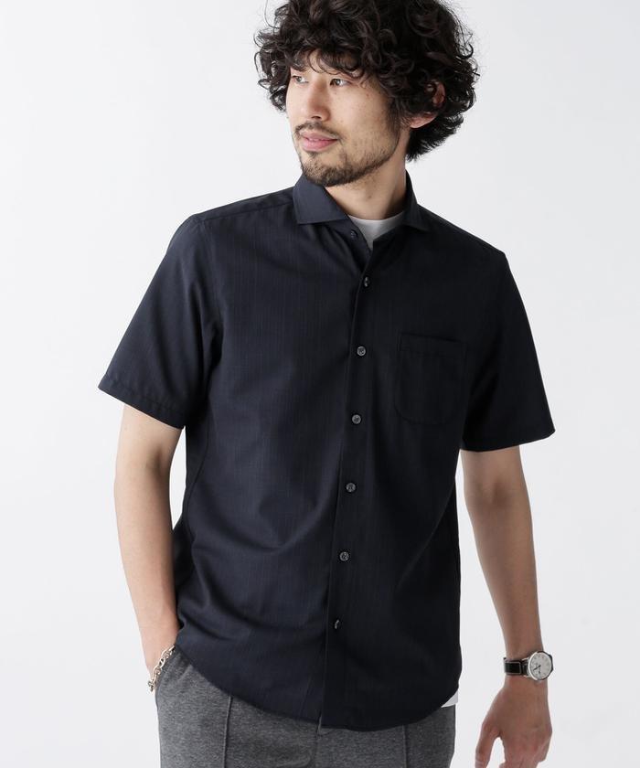 【50%OFF】 ナノ・ユニバース TWカッタウェイシャツ/半袖 メンズ パターン1 M 【nano・universe】 【セール開催中】