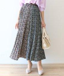 SCOTCLUB/Dignite collier(ディニテ コリエ) フラワーパターンプリーツスカート(ブラック)/503080387