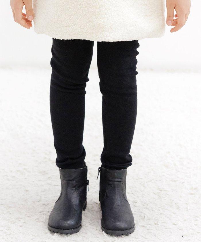 【65%OFF】 子供服ビー レギンスパンツ 裏起毛 キッズ ブラック 090cm 【子供服Bee】 【セール開催中】